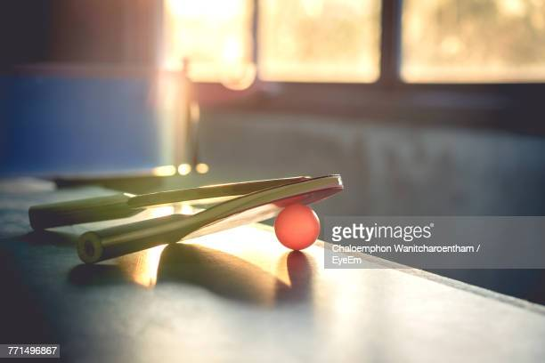 close-up of table tennis rackets on table - table tennis racket stock pictures, royalty-free photos & images