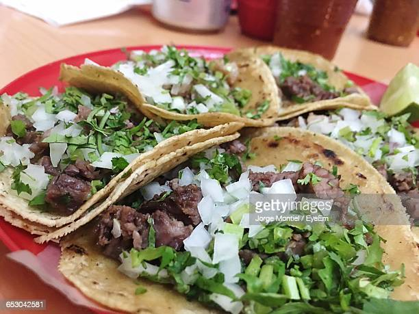 Close-Up Of Tacos Served In Plate