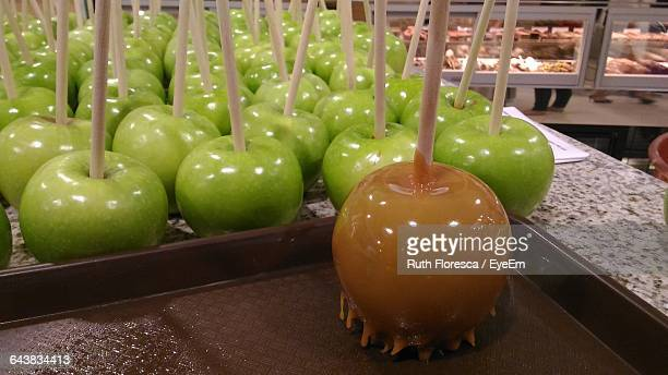 Close-Up Of Taffy Apples On Table