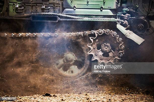 close-up of tank tracks - armored tank stock photos and pictures
