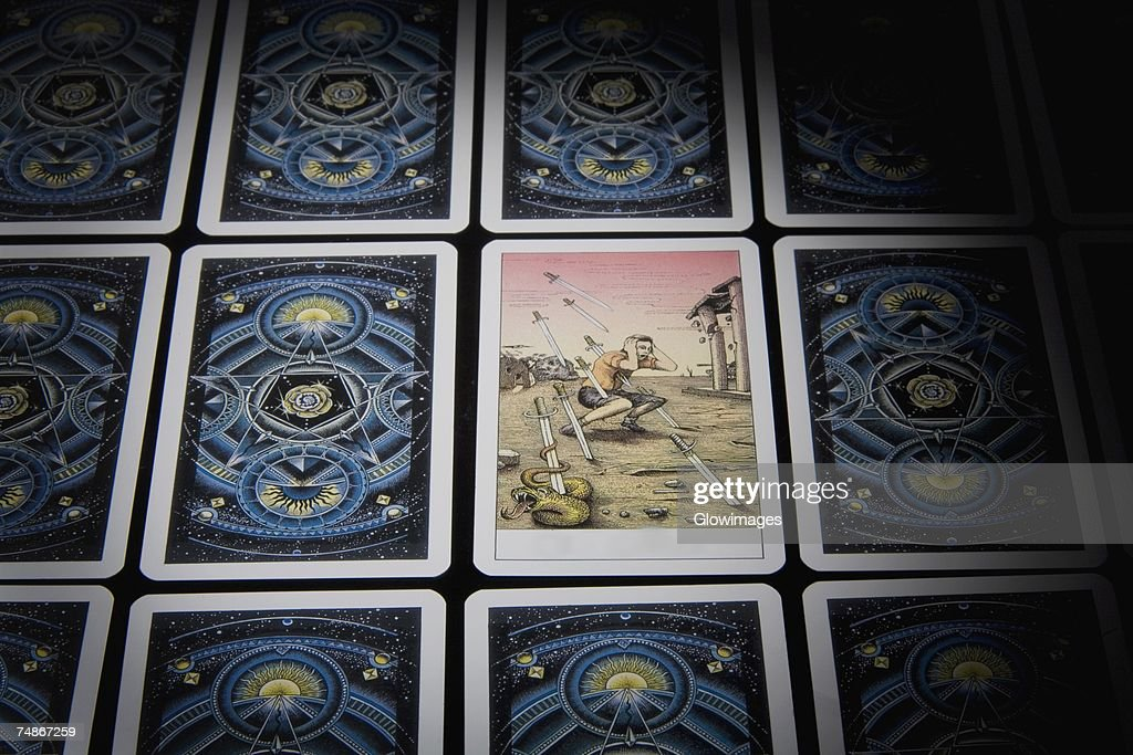 Close-up of tarot cards in a row : Stock Photo
