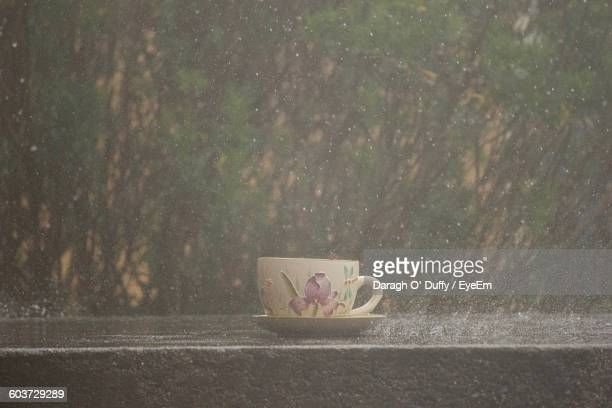 Close-Up Of Tea Cup On Retaining Wall During Rainy Season