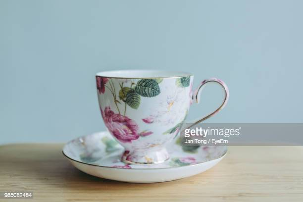 close-up of tea cup on table - tea cup stock pictures, royalty-free photos & images