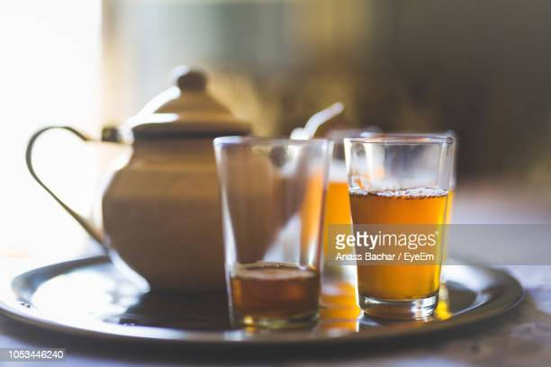 Close-Up Of Tea In Glasses By Pot On Tray