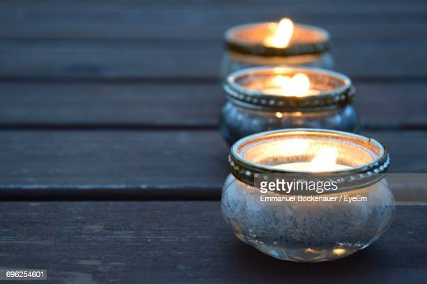 Close-Up Of Tea Light Candle On Table