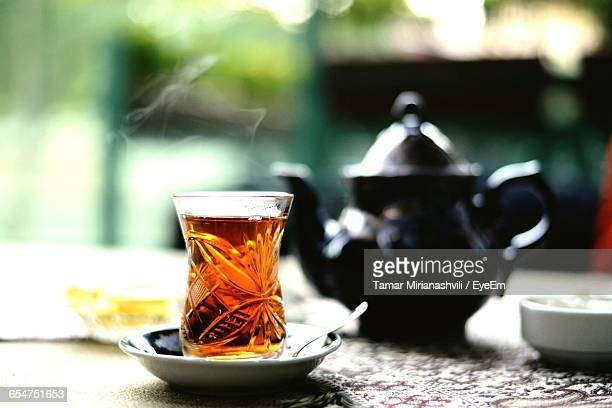 close-up of tea served on table - azerbaijan stock pictures, royalty-free photos & images