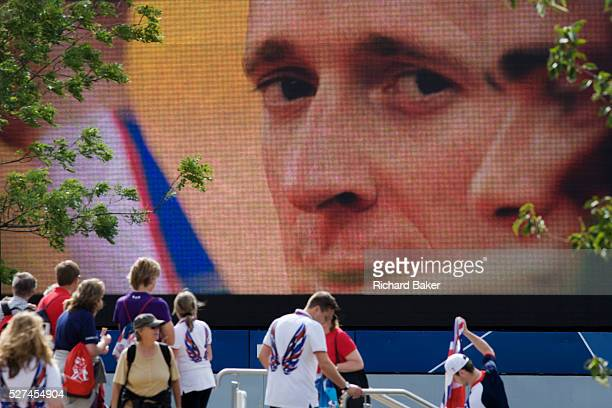 Closeup of Team GB Olympic cycling champion Bradley Wiggins on a large TV screen during the London 2012 Olympics Wiggins has become a hero for...