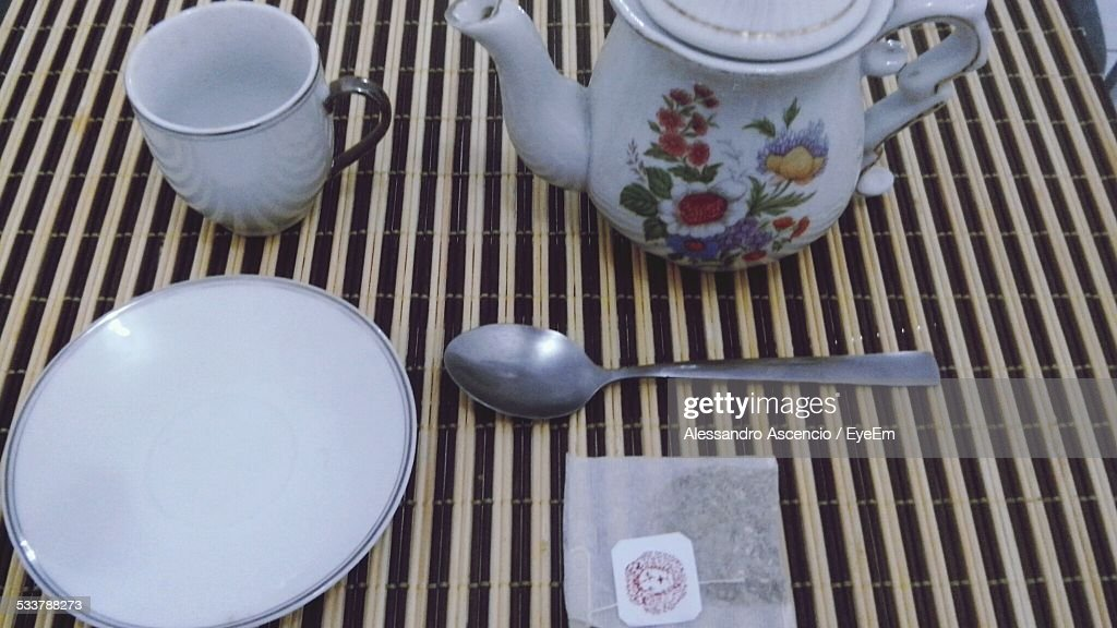 Close-Up Of Teapot And Cup Of Tea : Foto stock