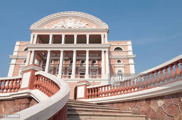 close-up of teatro amazonas opera house in manaus, brazil - manaus stock pictures, royalty-free photos & images