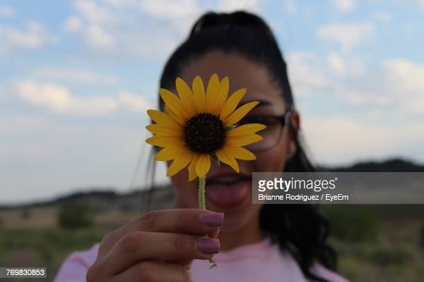 close-up of teenage girl holding sunflower against her face - brianne stock pictures, royalty-free photos & images