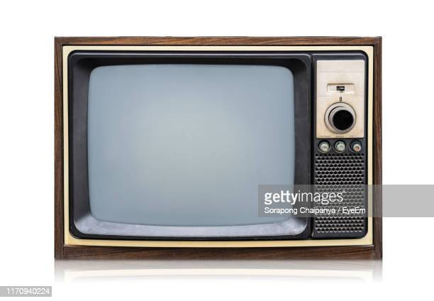 close-up of television set against white background - 古風 ストックフォトと画像