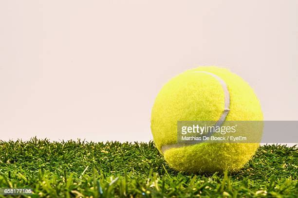 Close-Up Of Tennis Ball On Grass Against Wall