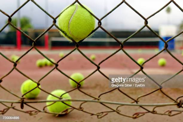 Close-Up Of Tennis Court Chainlink Fence