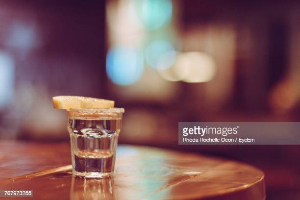Close-Up Of Tequila Shot On Table