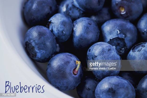 Close-Up Of Text By Blueberries In White Container