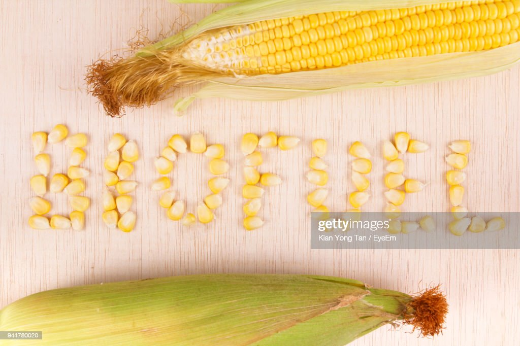 Close-Up Of Text Formed With Corns On Table : Stock Photo