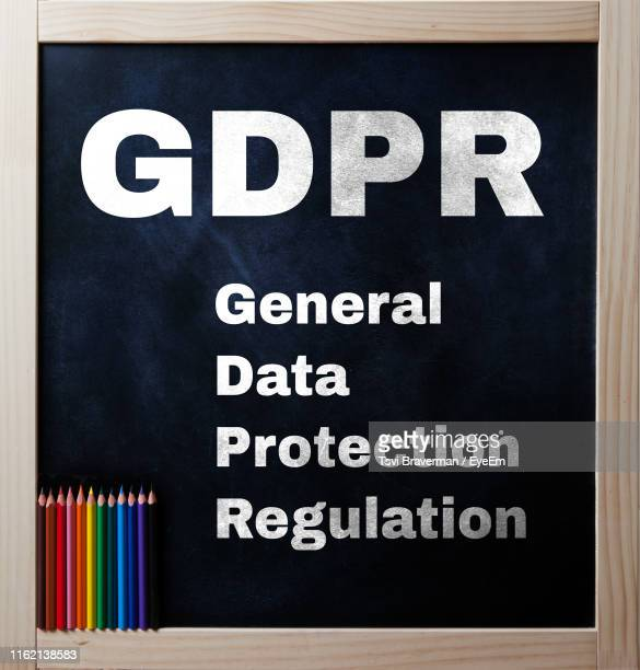 close-up of text on blackboard - gdpr stock pictures, royalty-free photos & images