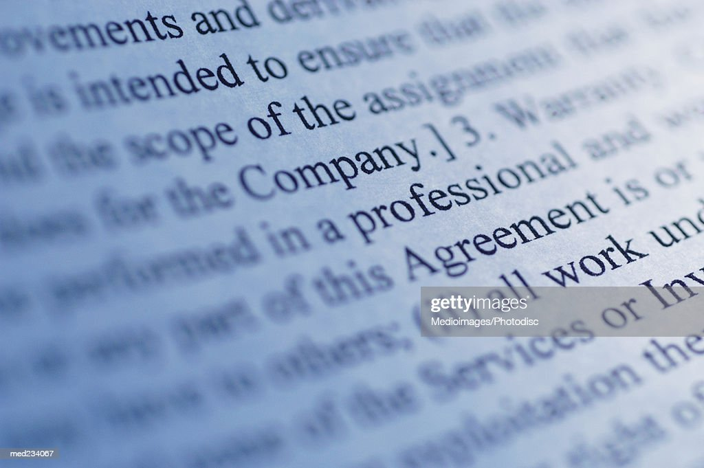Close-up of text printed on paper : Stock Photo