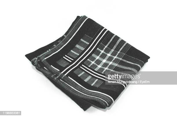 close-up of textile against white background - handkerchief stock pictures, royalty-free photos & images