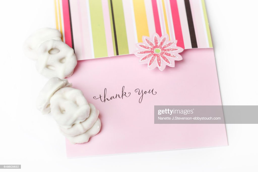 Closeup of Thank You Note Card : Stock Photo