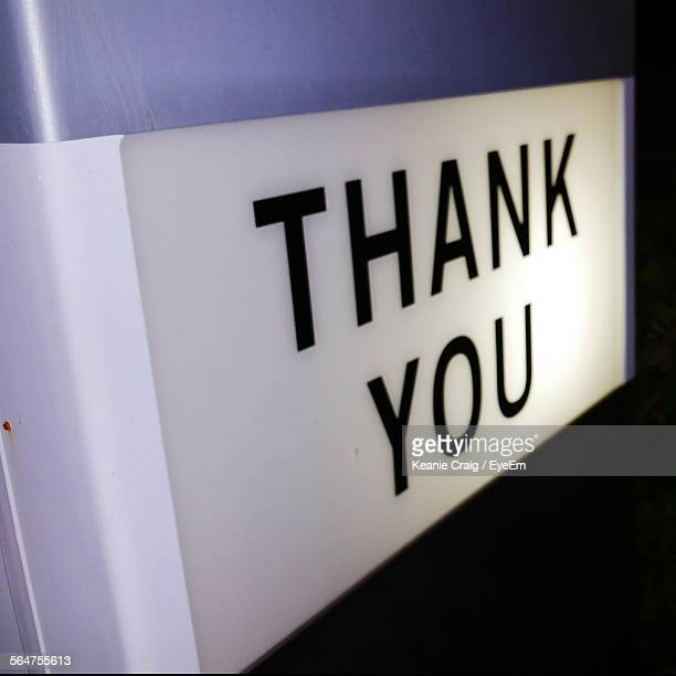 Close-Up Of Thank You On Wall