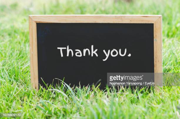 close-up of thank you text on blackboard - thank you stock pictures, royalty-free photos & images