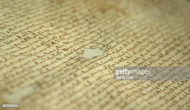 A closeup of the 1297 Magna Carta at the National Archives on March 3 2008 in Washington DC David Rubenstein purchased the 711 year old document at...
