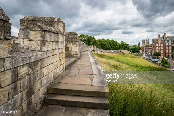 Closeup of the ancient York Walls that surround the City of York, Yorkshire, United Kingdom.