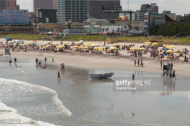 Close-up of the Atlantic City beach and boardwalk.