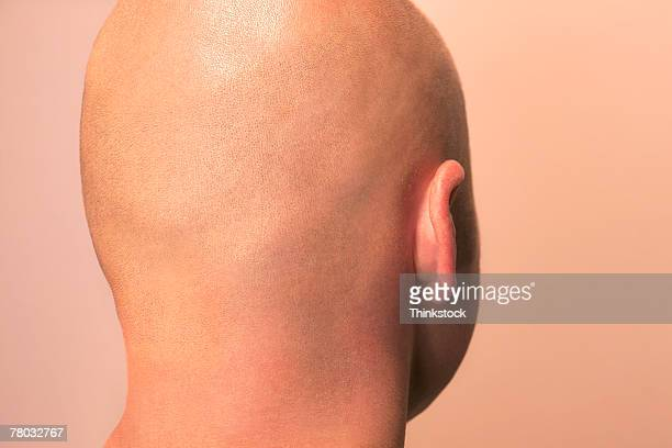 close-up of the back of a man's bald head. - completely bald stock photos and pictures