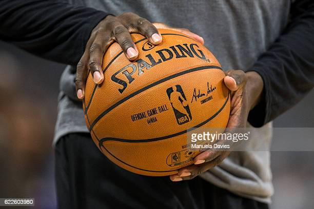 Closeup of the ball before the game between the Orlando Magic and the Minnesota Timberwolves on November 9 2016 at Amway Center in Orlando Florida...