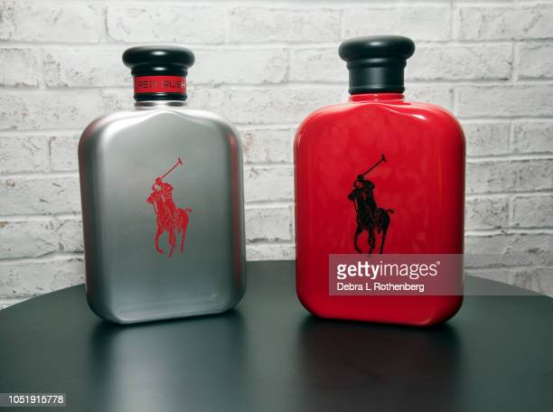 Closeup of the bottles of Polo Red Rush Collection at Macy's Herald Square on October 11 2018 in New York City
