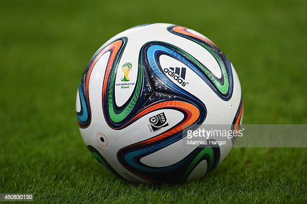 A closeup of the Brazuca match ball during the 2014 FIFA World Cup Brazil Group B match between Spain and Chile at Maracana on June 18 2014 in Rio de...