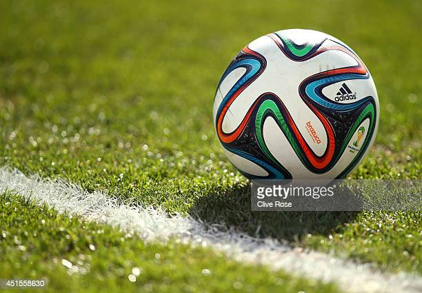 A closeup of the 'Brazuca' match ball during the 2014 FIFA World Cup Brazil Round of 16 match between Argentina and Switzerland at Arena de Sao Paulo...