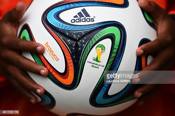 A closeup of the 'Brazuca' match ball prior to the 2014 FIFA World Cup Brazil Group F match between Bosnia and Herzegovina and Iran at Arena Fonte...