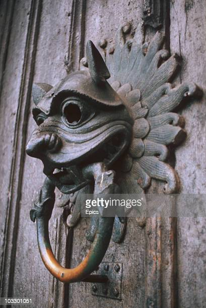 A closeup of the bronze sanctuary knocker of Durham Cathedral Durham June 1977 Criminals could seek refuge at Durham by loudly banging the knocker to...