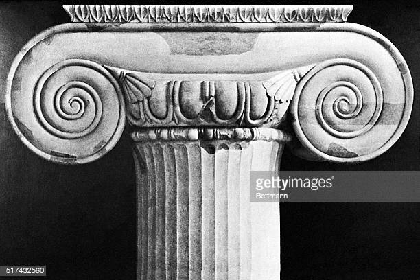 A closeup of the capital of an Ionian pillar from the Temple of Artemis at Ephesos Undated photograph