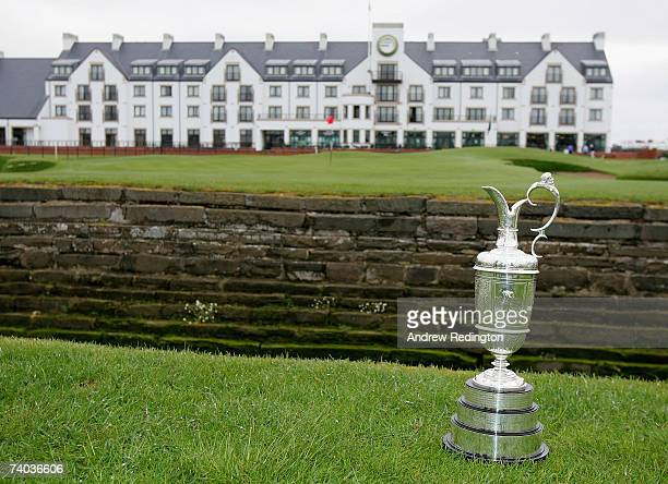 A closeup of the claret jug trophy in front of the clubhouse prior to The Open Championship press conference held at Carnoustie Golf Club on May 1...