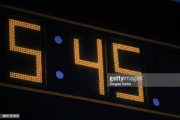 Close-up of the clock on a large score board