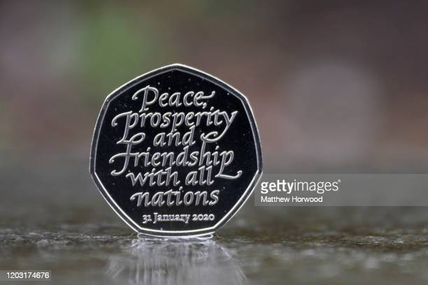 Close-up of the commemorative 50p coin at the Royal Mint on January 31, 2020 in Llantrisant, Wales. To mark the launch of the Brexit 50p coin,...
