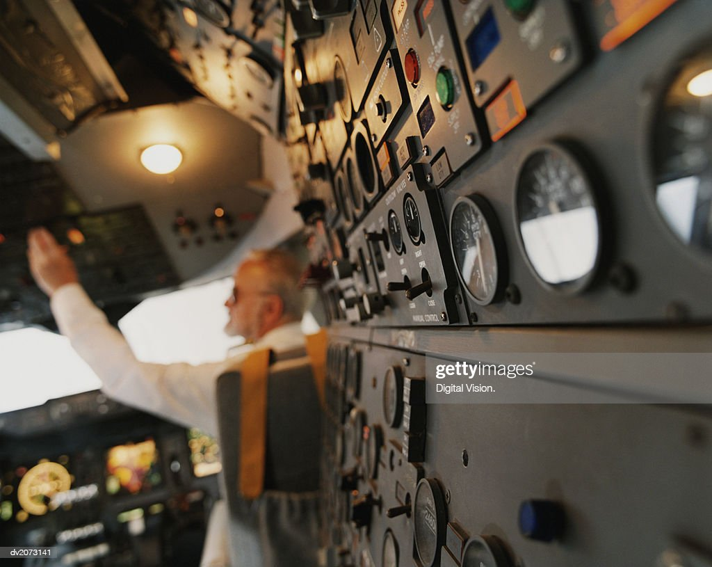 Close-Up of the Control Panel in the Cockpit of a Commercial Aircraft : Stock Photo