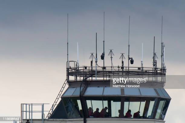 A closeup of the control tower during the International Air Tattoo at RAF Fairford on July 21 2019 in Fairford England The Royal International Air...