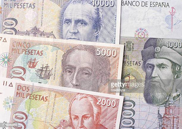 Close-up of the currency notes of Spain