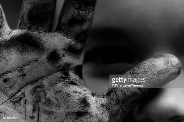 Close-up of the dirty hand of a child, Vyshhorod, Ukraine