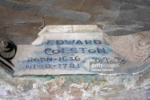 A closeup of the Edward Colston statue plinth on June 8 2020 in Bristol England Yesterday protesters in Bristol toppled the statue of Edward Colston...