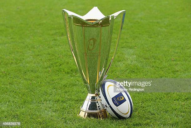 A closeup of the European Rugby Champions Cup trophy and official ball during the 2014/15 European Rugby Champions Cup and European Rugby Challenge...