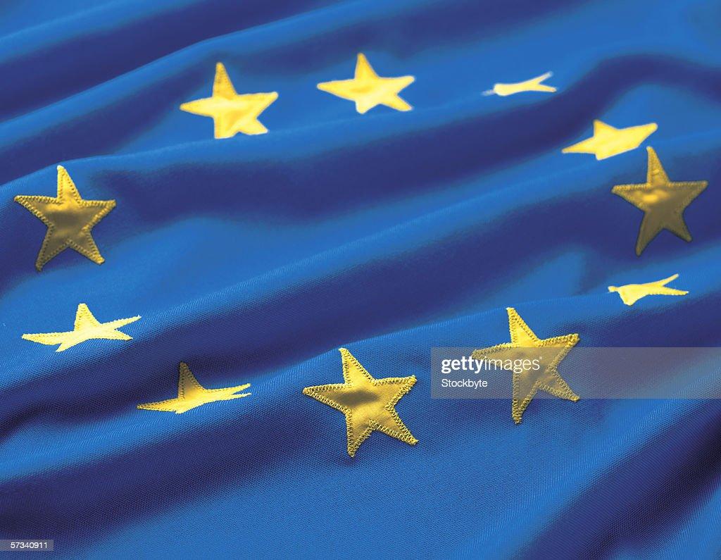 Close-up of the European Union flag : Stock Photo