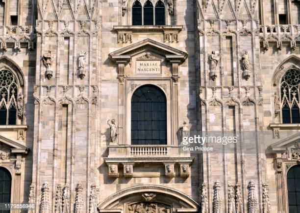 close-up of the facade of duomo di milano - duomo di milano stock pictures, royalty-free photos & images