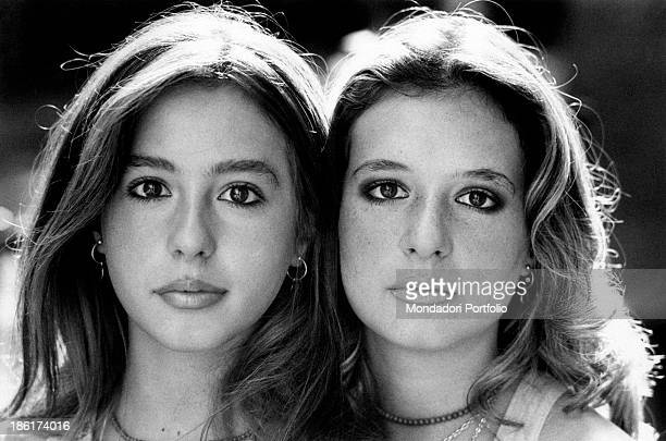 Closeup of the faces of the Italian actress and singer Daniela Goggi and of her sister Loretta Italian singer actress and show girl this year they...