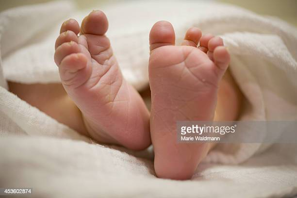 Close-up of the feet of a newborn on July 16 in Berlin, Germany.